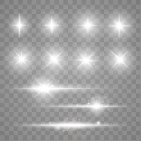 Set Of Sparks Isolated. Vector Glowing Stars. Lens Flares and Sparkles Template For Your Design Çizim