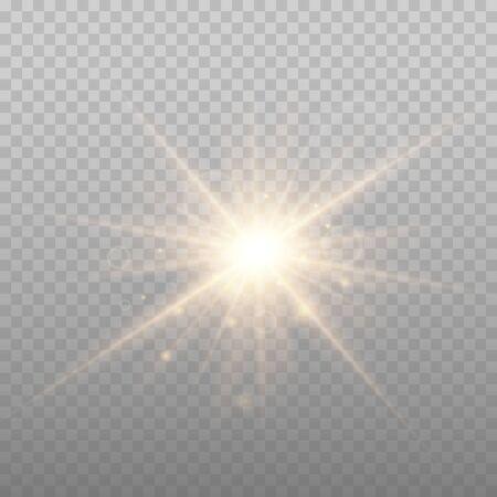 Illustrazione vettoriale di esplosione di stelle, sole incandescente. Sole isolato su sfondo trasparente. Vettoriali