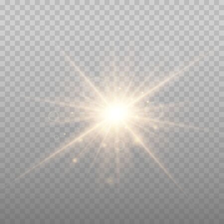 Star explosion vector illustration, glowing sun. Sunshine isolated on transparent background. Vetores