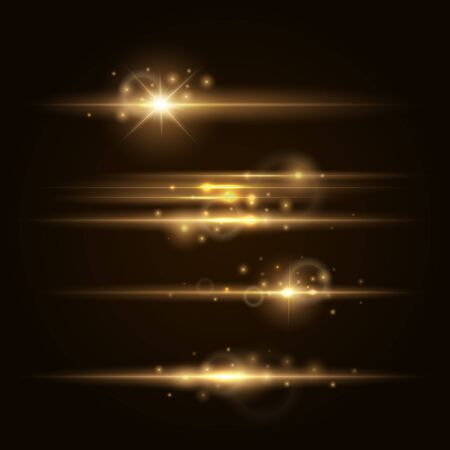 Gold Lens flars vector illustration. Shine starlight isolated on transparent background. Glowing light effect.