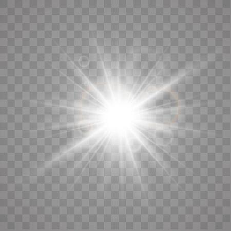 Star explosion vector illustration, glowing sun. Sunshine isolated on transparent background Çizim