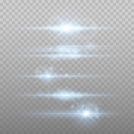 Lens flars vector illustration. Shine starlight isolated on transparent background. Glowing light effect