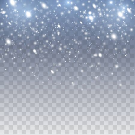 Falling snow vector background. Christmas decoration background with snoflakes. Magic snowfall winter effect.