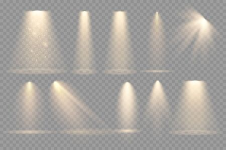 Set of Spotlight isolated on transparent background. Vector glowing light effect with gold rays and beams Ilustrace