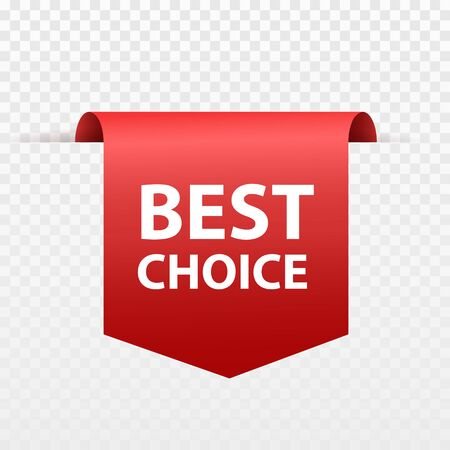 Best choice tags isolated, labels or badges on white background. Best choice vector ribbon banners Çizim