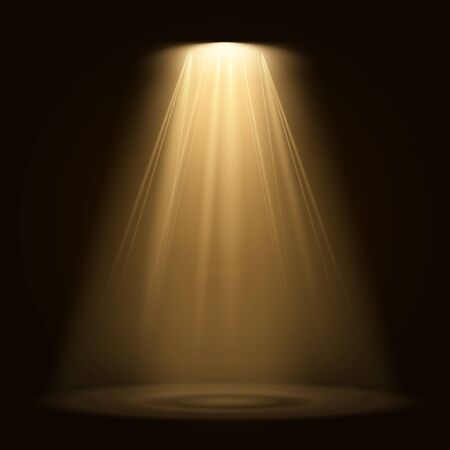 Spotlight isolated on transparent background. Vector glowing light effect with gold rays and beams Reklamní fotografie - 134832683
