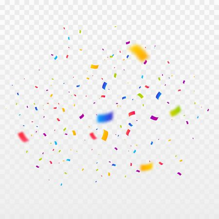 Confetti burst vector illustration. Color ribbons and streamers. Birthday party background Ilustrace