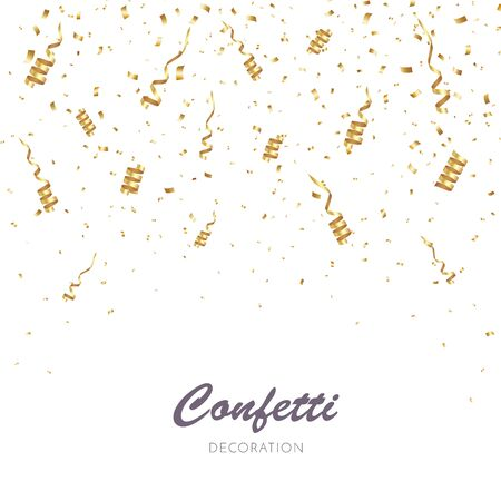 Gold Confetti Background. Party Vector Illustration