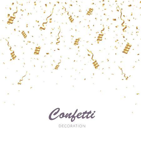 Tło złoto konfetti. Ilustracja wektorowa strony