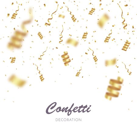 Gold Confetti Background. Party Vector Illustration Ilustrace