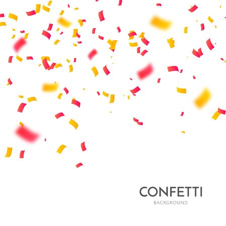 Confetti vector party background. Gold and red ribbons, streamers and particles.