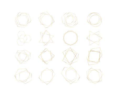 Gold polygonal geometric background. Luxury design vector frame Illusztráció