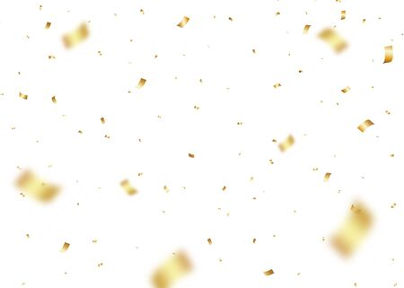 Vector Confetti Overlays. Gold Confetti Party Celebration Background With Ribbons And Particles.