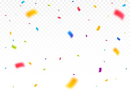 Colorful Bright Confetti Pieces Isolated On White Background. Celebration Party, Vector Illustration
