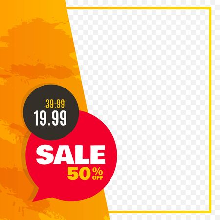 Sale banner for social media. Frame with price tag. Vector illustration