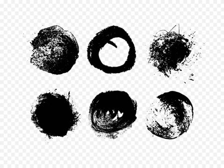 Round shapes in black. Simple print style. Grunge painted vector illustration