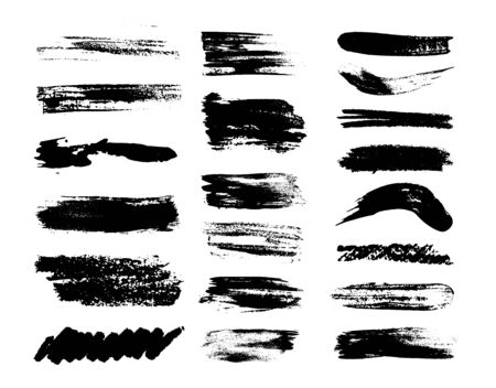 Set of grunge brush strokes.Isolated Silhouettes of dirty liquid. Set of vector illustrations. Illusztráció