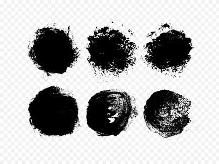 Textured black circles, paint. Set of ink on a white background.Vector eps10