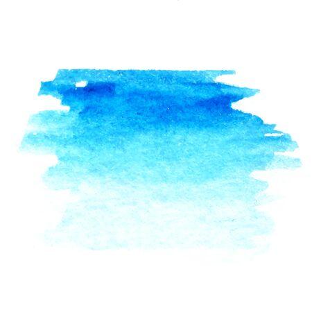 Blue turquoise rough brush strokes. Watercolor brush isolated on white background Illusztráció