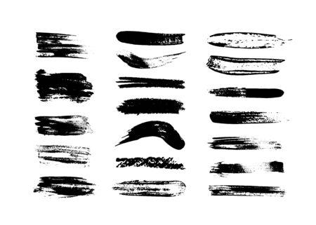Black lines of smears, ink brushes. Dirty banner texture Illusztráció