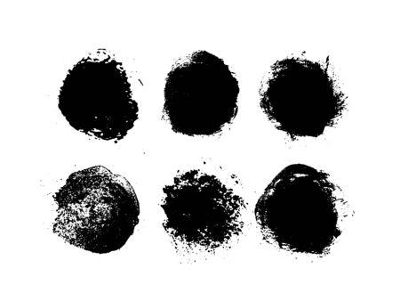 Black round scuff texture. Vector illustration.Isolated on a white background. Illusztráció