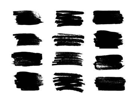 Black grungy strokes, ink. Grunge design elements