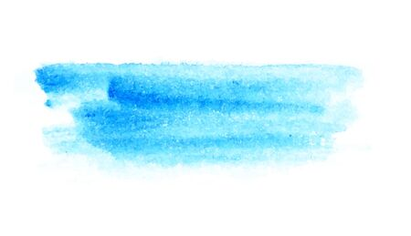 Paint stroke blue cold bright color watercolor texture. On white background for text design, web, print.