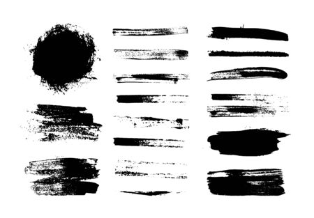 Black vector brush collection. Ink splatter. Grungy drawn banners.