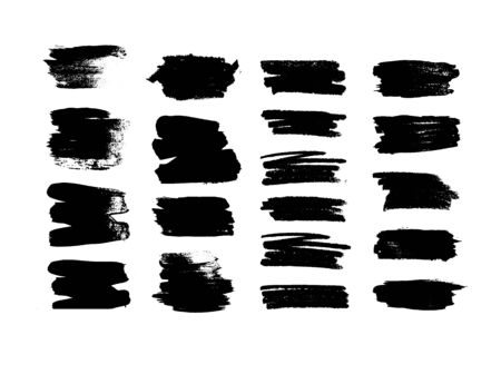 Set of black brush strokes. Collection of vector black lines on a white background. Stock fotó - 149337304
