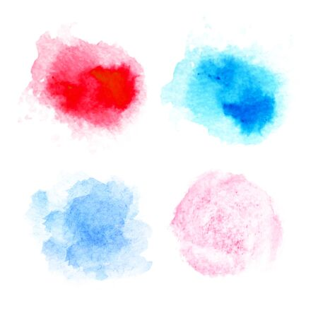 Watercolor circles for design collection. The color splashing in the paper. Hand drawn. Vector illustration. Illusztráció