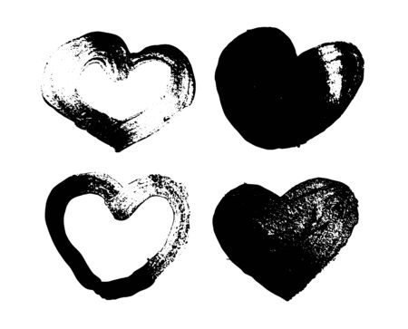Heart painted with black paint brush. Heart shape vector on white background Stock fotó - 149337313