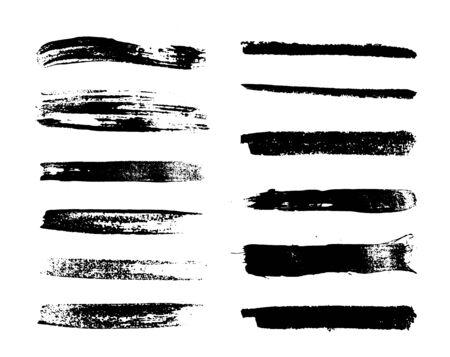 Grunge design elements. Straight black strokes. Vector illustration
