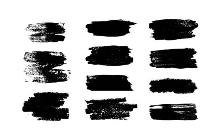 Set of black paint, strokes, brushes. Decoration elements