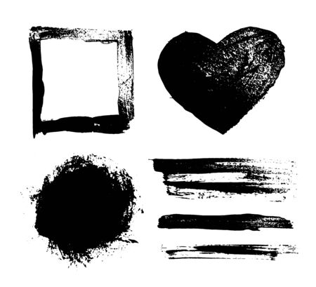 Curly brush and ink strokes. Set of brush strokes heart, rectangle fields in black. Direct hits. Vector illustration