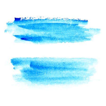 Blue watercolor strokes painted by hand brush. For your design, background watercolor concept. Ilustración de vector