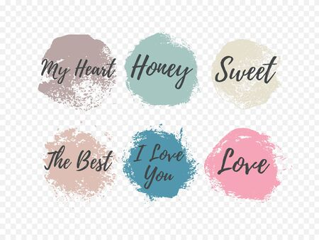 Set of beautiful colored grunge circles with the inscription about love.Used for banners and design. Vector illustration Illusztráció