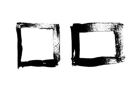 Black grunge hand drawn frames. Vector illustration