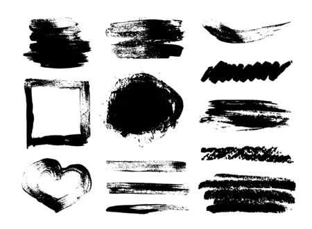 Collection of grunge brush strokes, heart shaped frame on a white background. Vector set