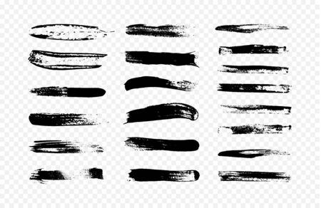 Abstract illustration of a collection of black brush strokes. Creative design elements.