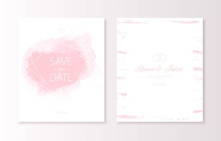 Wedding pink color invitation card with watercolor spot and geometric polygonal heart. Vector luxury invite