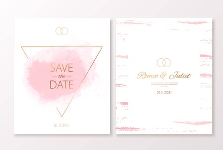 Wedding pink color invitation card with watercolor spot and triangle gold frame. Vector luxury invite