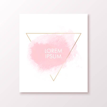 Watercolor banner with gold triangle frame. Vector illustration for banners, posters, flyers and invitation cards