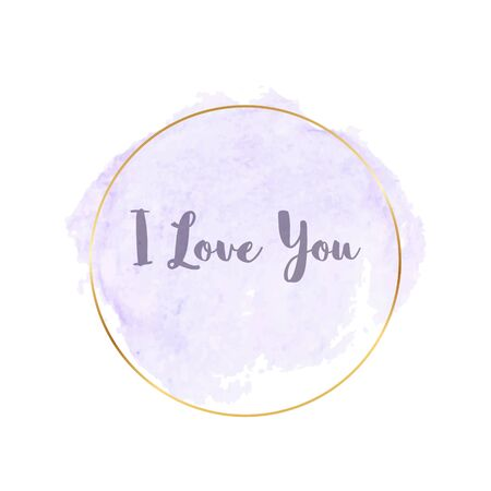 Pastel violet brush stroke watercolor texture with gold polygonal frames and text - I love you