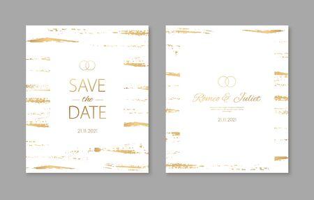 Wedding invitation cards with gold geometric polygonal design elements. Vector luxury invite