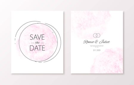 Wedding invitation card with watercolor spot and black frame. Vector luxury invite with save the date text