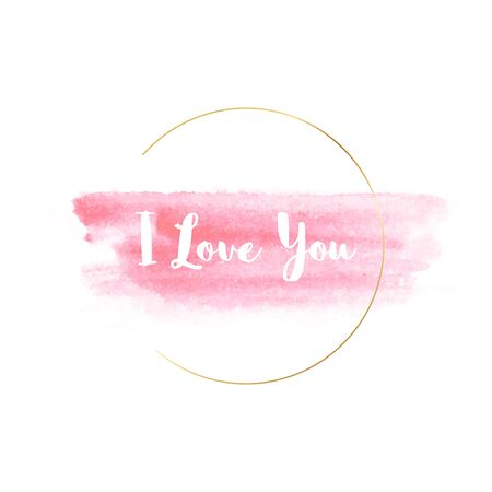 Watercolor banner with gold circle frame and I love You title. Vector illustration with hand-drawn painting elements