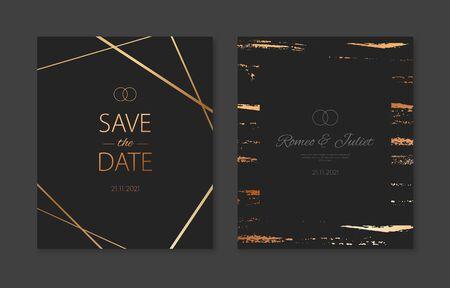 Wedding invitation cards with gold geometric polygonal patterns. Vector black luxury invite with gold metallic effect Illusztráció