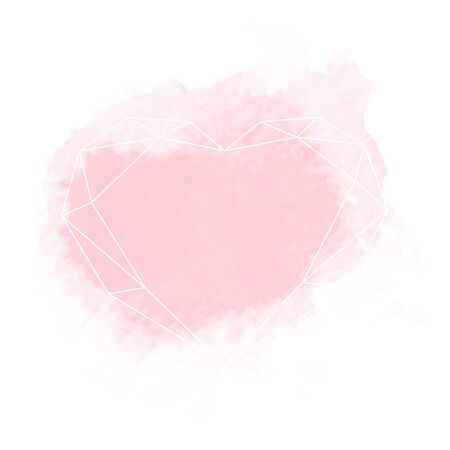 Watercolor pink spot with white polygonal heart frame. Vector greeting card or background or brochure Illusztráció