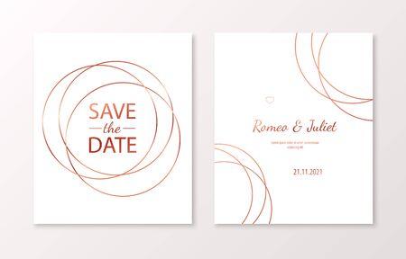 Wedding invitation cards with rose gold geometric polygonal design elements. Vector luxury invite Illusztráció