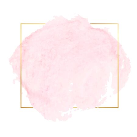 Pink watercolor brush with golden frame. Modern graphic design. Vector banner.